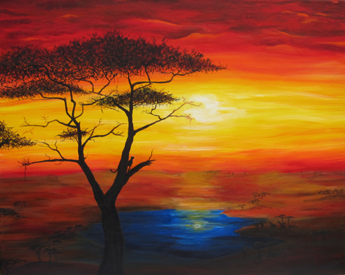 African Sunset Acrylic Paintings Sunset